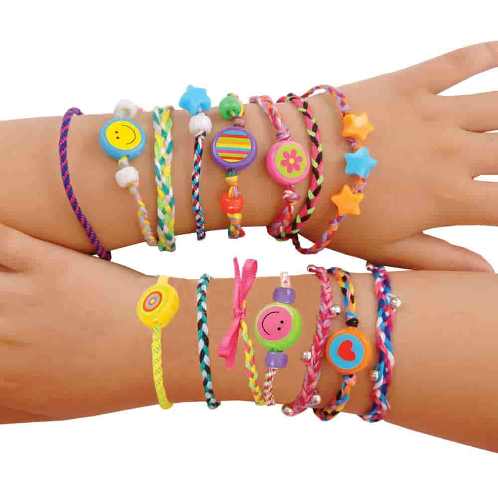 intergenerational made image friendship bracelets loom photo clasp of bands stock